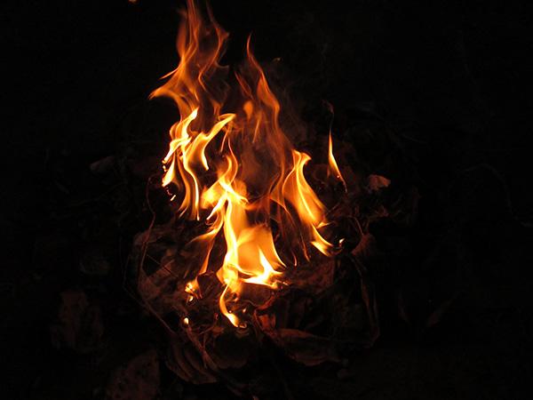 寒い冬、焚火の炎を囲んで幻想の世界