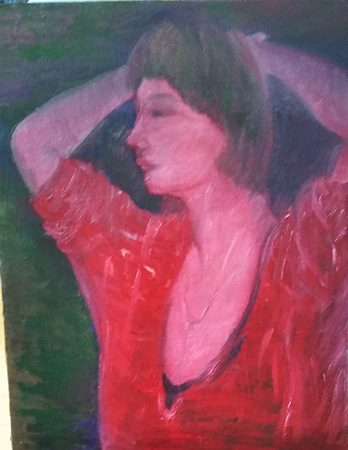 9か月ぶりに描き始めた油絵「赤い服の女」