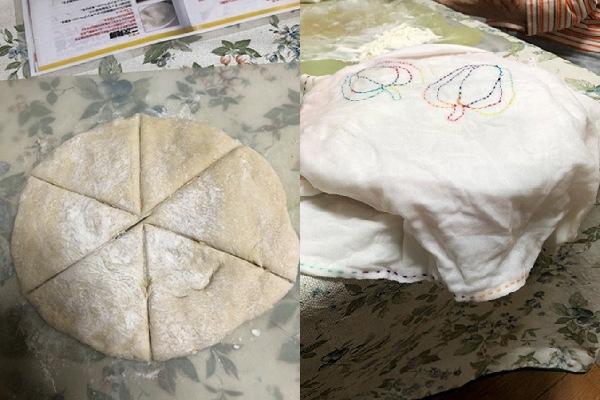 記事を分割したところ(左)/ 発酵中(右)