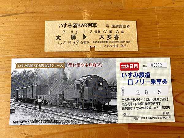いすみ酒BAR列車の硬券きっぷと一日フリー乗車券