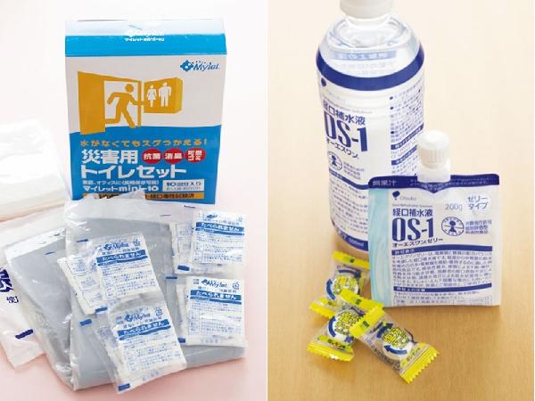 左/凝固剤などの簡易トイレの備蓄があると安心。右/脱水時には塩分が多く糖分の少なめの経口補水液がおすすめ。備蓄に便利なパウダータイプもあります。