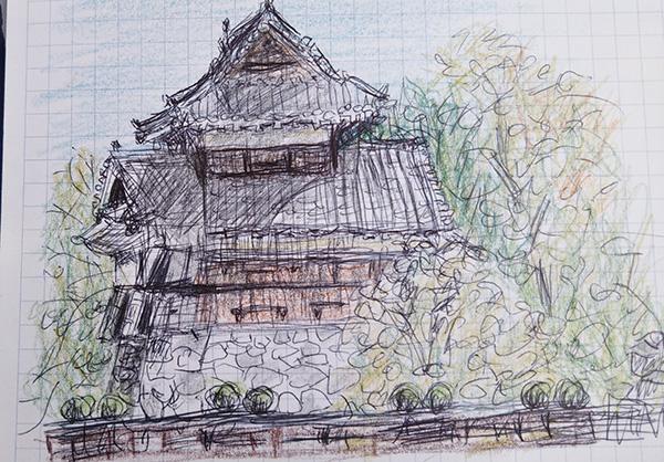 二ノ丸広場から見た熊本城のスケッチ