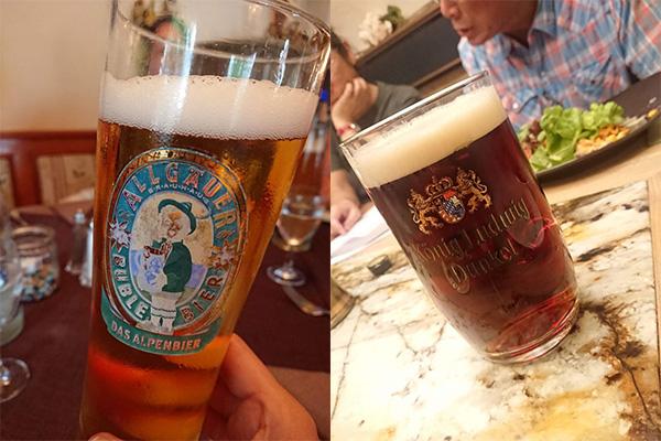 ドイツなので、ビールは店に入るたびに違う種類を飲み比べ