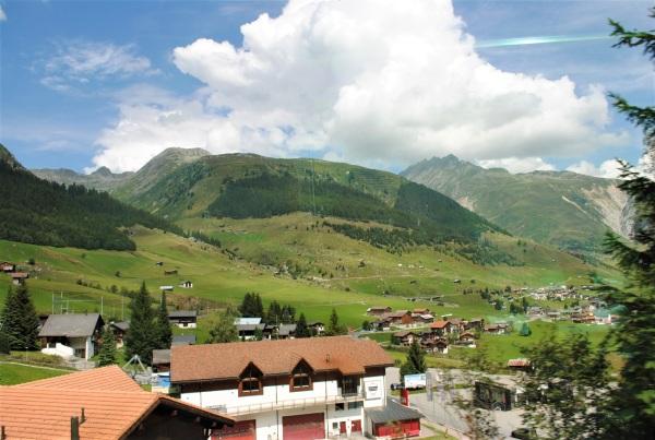 山の急斜面に広がる牧歌的な風景