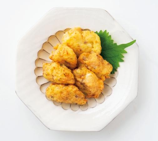 鮭缶と卵の揚げ団子
