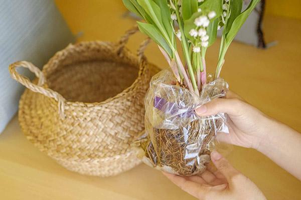  バスケットを使って花を生ける