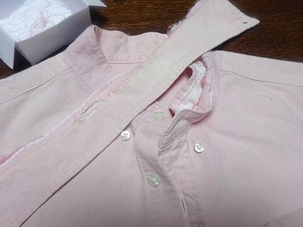 夫の作業用シャツのリフォーム