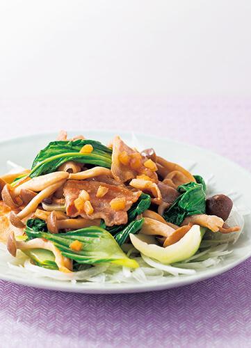豚肉とシメジ、青梗菜の炒め物 お酢仕立て