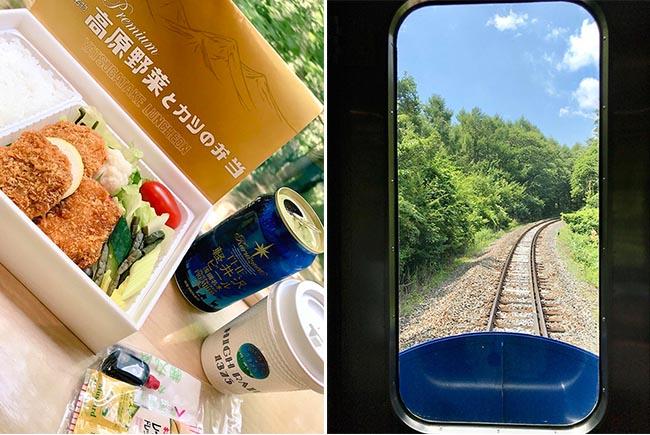 丸政の「高原野菜とカツの弁当」先頭車両の窓からの写真