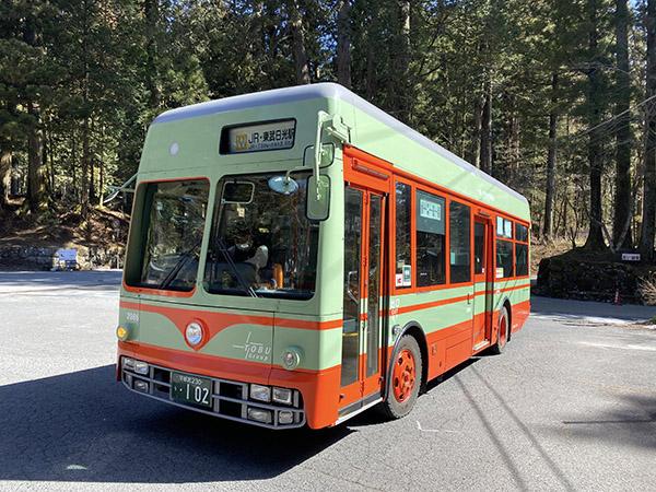 日光軌道タイプ特別車両のバスもフリーパスで乗車できる