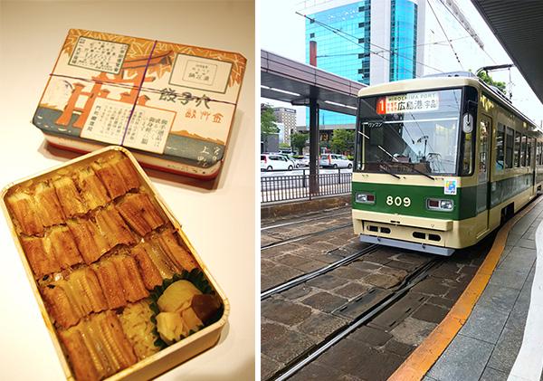 (右)うえのの「あなごめし」はかけ紙が12種類ある(左)広島電鉄