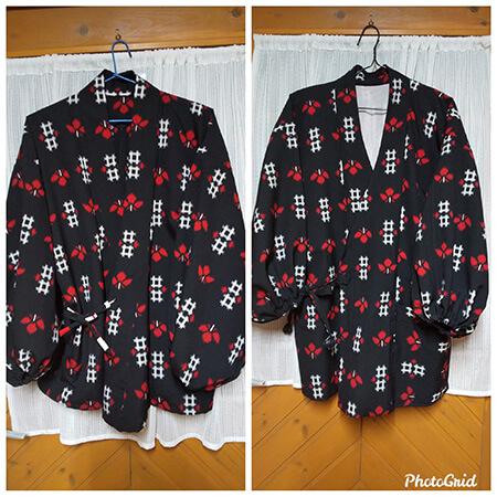 着物の上部で作った作務衣(左)、羽織をリフォームした作務衣(右)。衿が違います