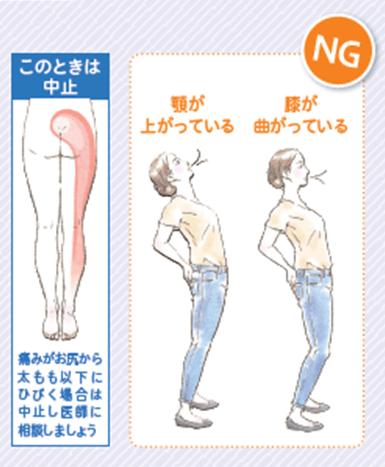 これだけ体操の注意:お尻から太ももにかけて痛みが響いた場合は中止
