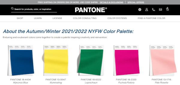 サイトスクリーンショット:About the AutumnWinter 20212022 NYFW Color Palette(PANTONE COLOR INSTITUTE)