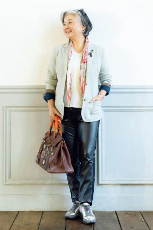 70代女性のファッションコーディネート:長屋恵美子さん(72歳)
