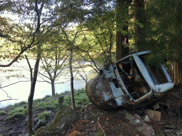 佐久間ダムに建設の際に転落したと言われるミゼット