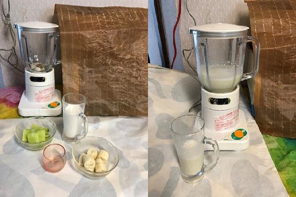 バナナとメロンのジュース