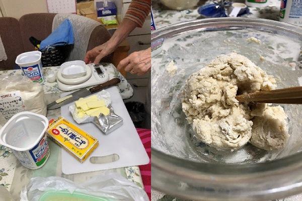 材料の計量中(左)/ 生地をこねているところ(右)