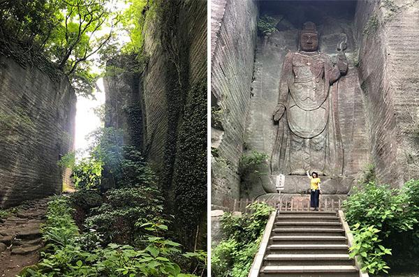 左:採石の跡がそのまま残る道 右:百尺観音は百尺(約30m)ある