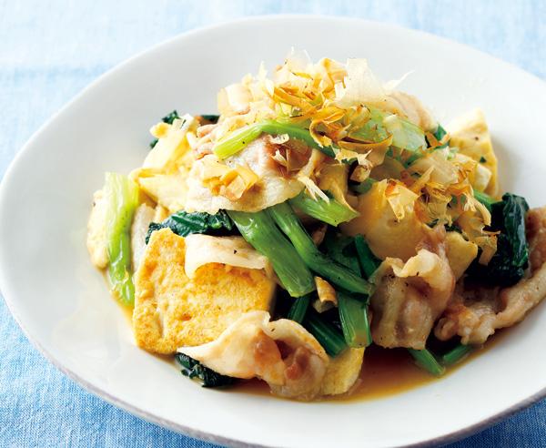 冷凍小松菜のチャンプルー