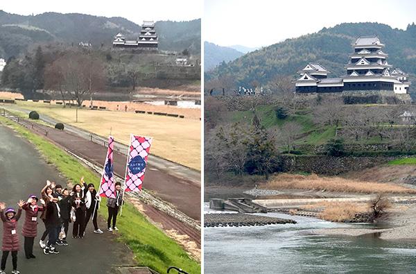 (左)土手の向こうにお城が見える(右)大洲城からのお見送り