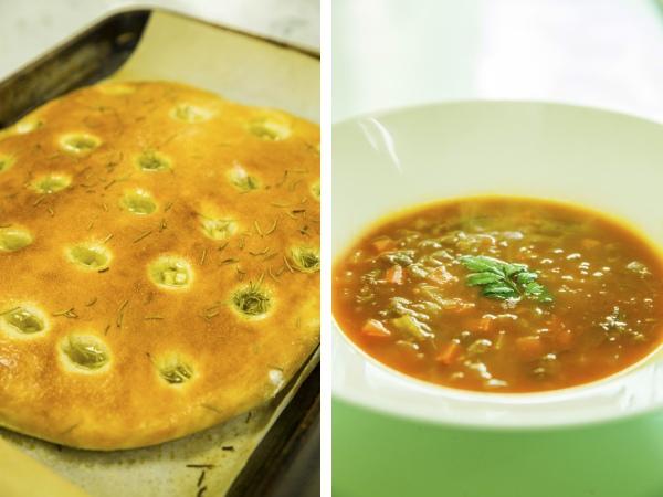 焼き立てのフォカッチャと、オックステールのスープ