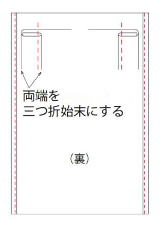 【1】長辺を三つ折りにして縫う