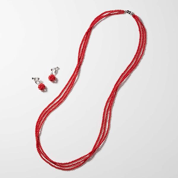 珊瑚3連ネックレス&イヤリングセット