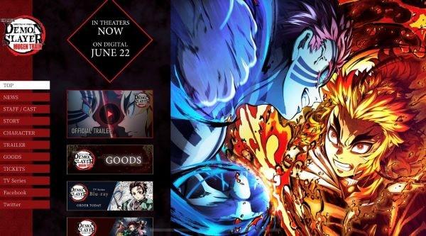 英語版「Demon Slayer: Kimetsu no Yaiba the Movie」公式サイトより