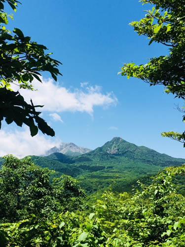 曇り空が晴れ、大山の姿が。