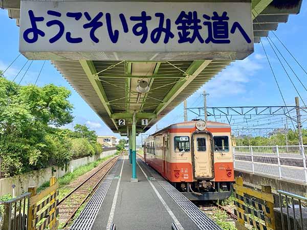 いすみ鉄道大原駅改札口から見たホーム