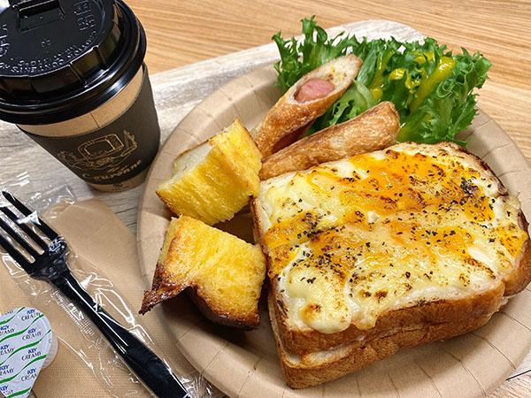 クーロンヌのクロックムッシュの朝食セット