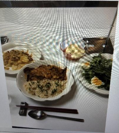 デザートはリンゴのコンポート。粟谷道代先生の手作りです
