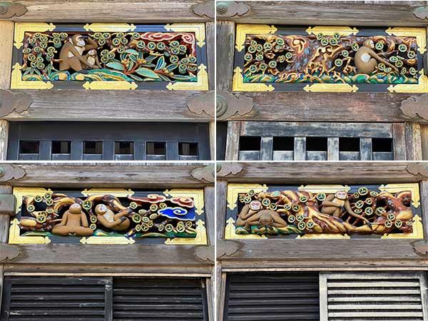 三猿以外の長押に彫られたさまざまな表情の猿たち