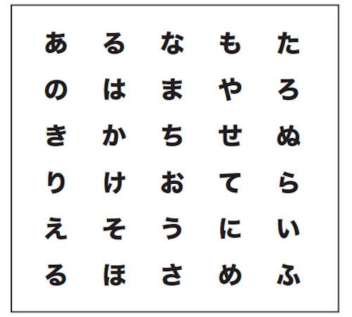 大人の脳トレドリル:同じ文字探し【問題1】