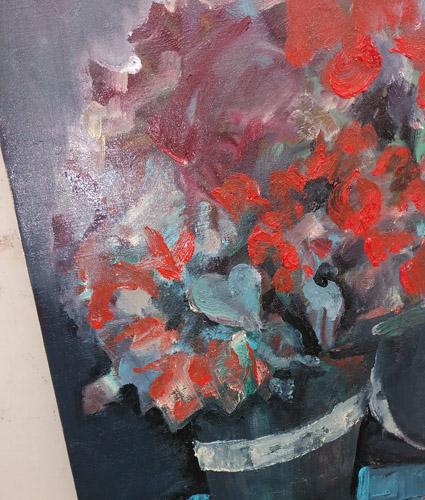 1枚1枚花びらを描かないでそれでも花に見えるようにしました。画面全体から感じてください。バックの色は補色を混ぜてグレーに仕上げました。