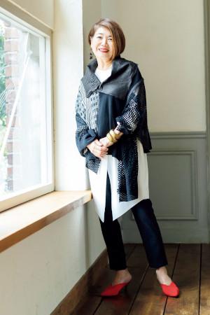 70代女性のファッションコーディネート:森村多美子さん(74歳)