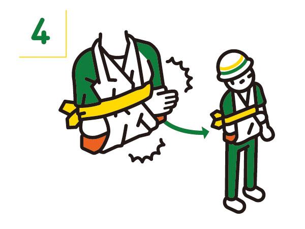 より安定させるため、吊り下げている布を胸に縛り付ける