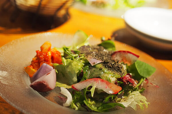 彩りが美しい地元野菜のサラダ