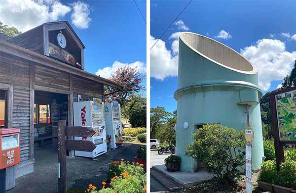 写真左/上総中野駅、写真右/駅には竹の形のトイレがある