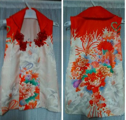 それでも後身頃は刺繍が多く綺麗だったので、被布にしました