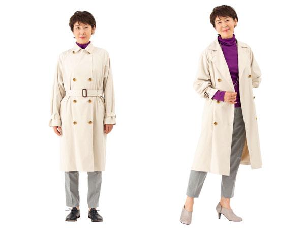 コートは縦長ラインと袖口テクで軽やかに
