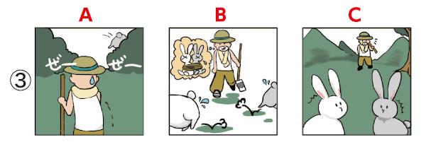 ことわざイラスト並び替え問題3:二兎を追う者は一兎をも得ず