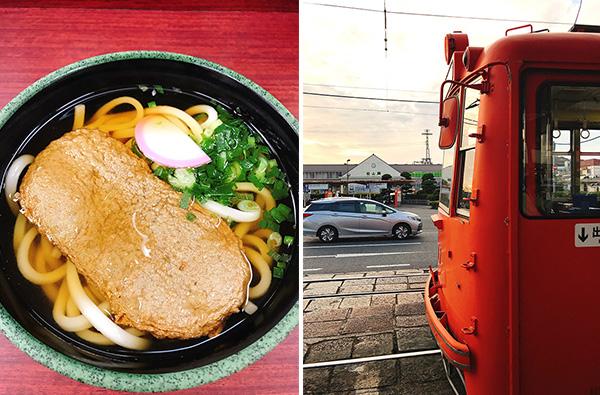 (左)松山駅にある駅そばの名物「じゃこ天そば」(右)市内電車と松山駅