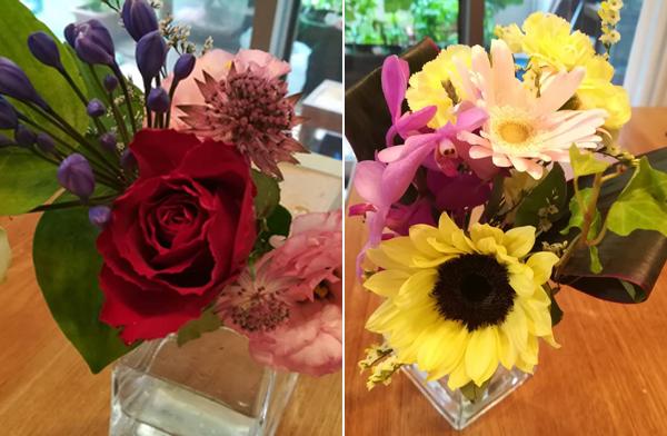季節の花を中心に、意外な組み合わせや色使いで届くのが楽しみに