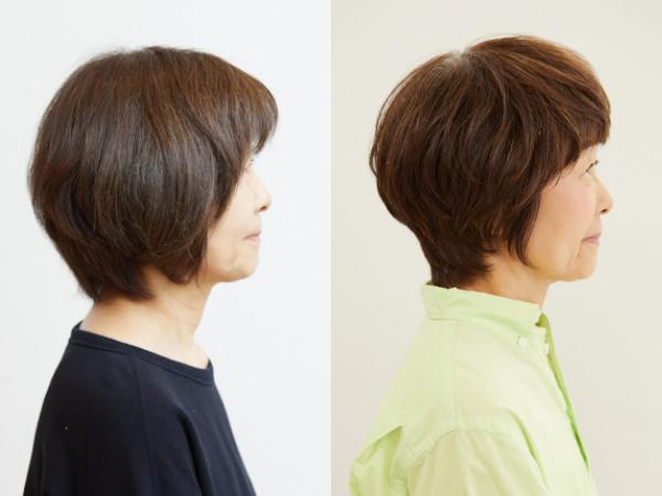 60代・イメチェンアフター写真(サイド):前下がりのショートヘア