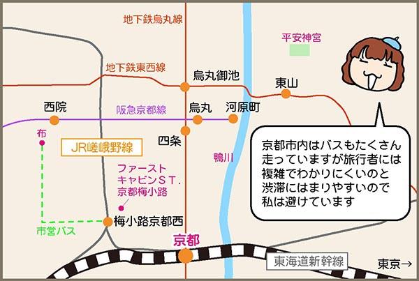 京都の鉄道を楽しむ1泊2日旅のルート