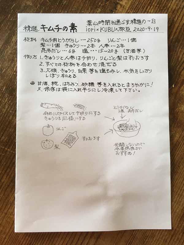 キムチの素のレシピ
