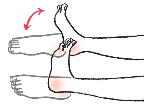 脚やせストレッチの方法:足首を手前に倒す→甲を伸ばすを繰り返す