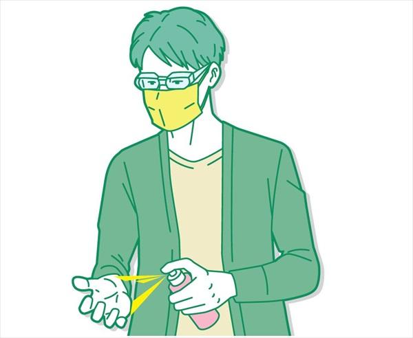 コロナ禍の花粉症対策:アルコール消毒液を持ち歩く